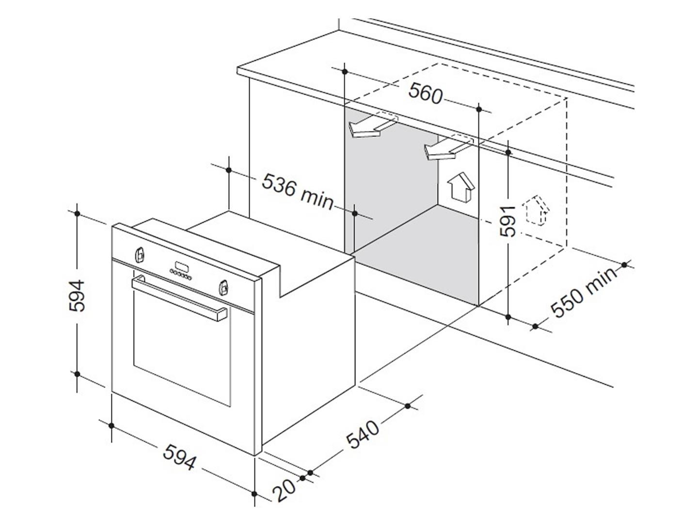 delonghi del607m 60cm 7 function built in oven