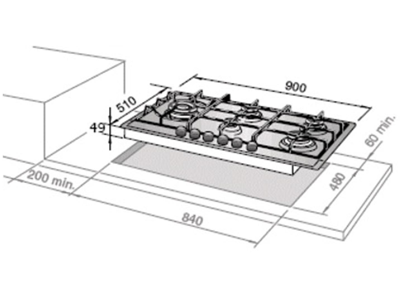 delonghi 90cm 5 burner stainless gas cooktop deghsl90
